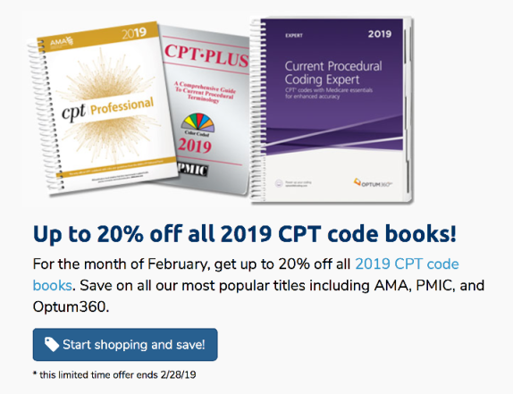 20% off CPT Code Books