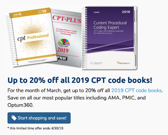 Up to 20% off CPT books