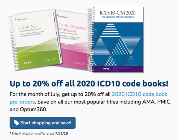 Up to 20% off all 2020 ICD10 code books!