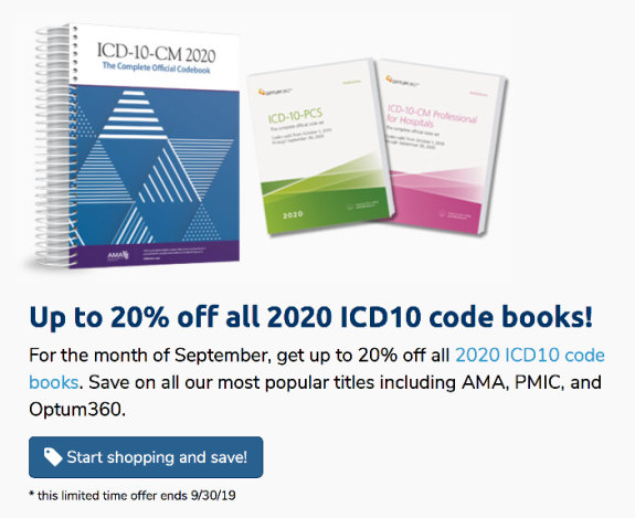 Up to 20% off ICD-10 Books – September 2019 Sale