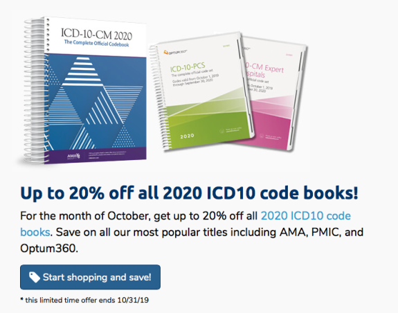 Up to 20% off ICD-10 2020 Books