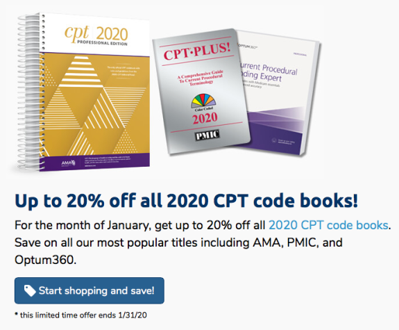 Up to 20% off CPT Books — January 2020 Sale