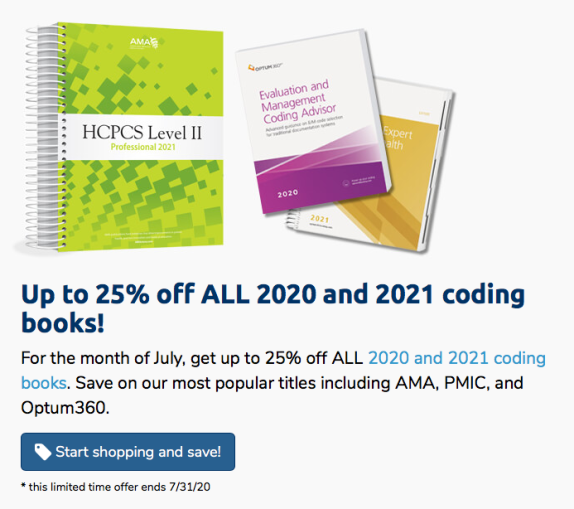 25% off ALL 2020 and 2021 coding books