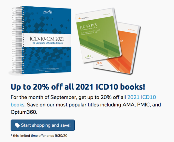 Up to 20% off all 2021 ICD-10 books
