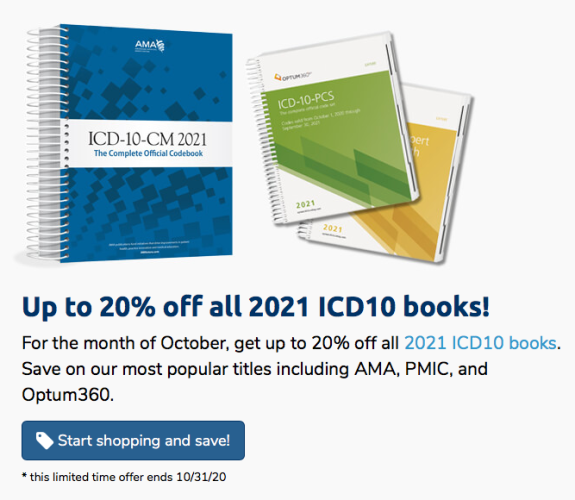 Up to 20% off all 2021 ICD10 code books