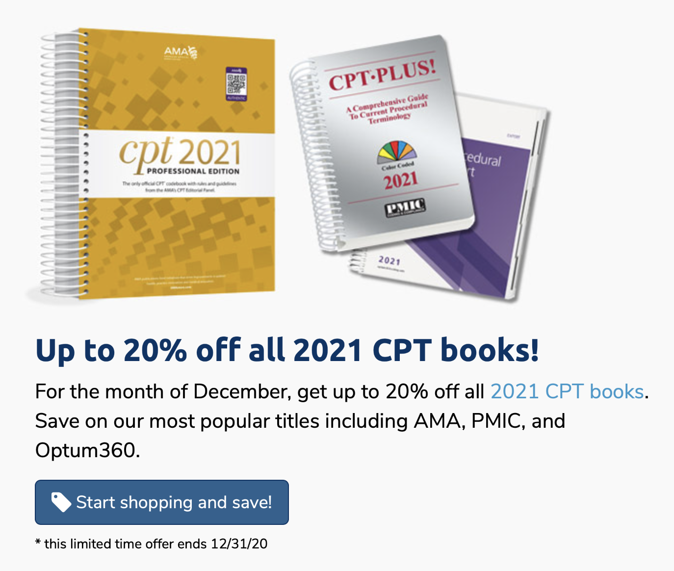 Up to 20% Off 2021 CPT Books