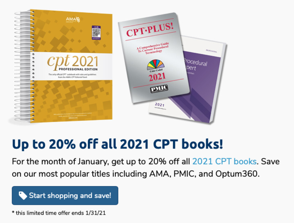 Up to 20% Off CPT 2021 Books