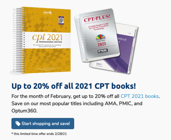 Up to 20% Off 2021 CPT Code Books