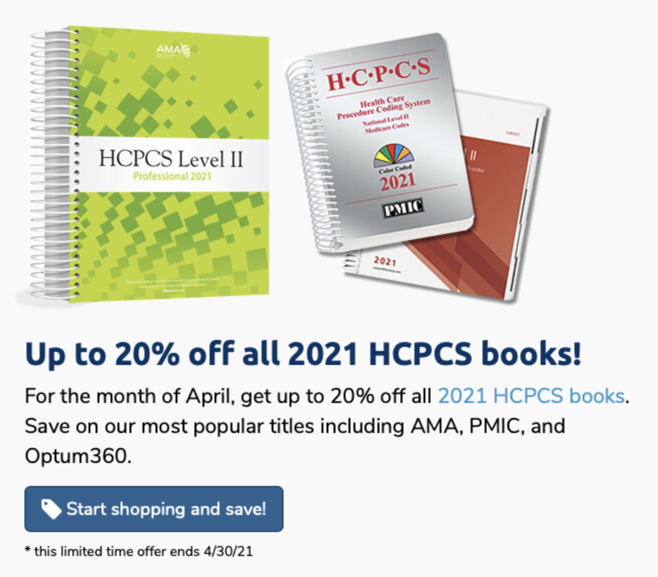 Up to 20% 2021 HCPCS Books