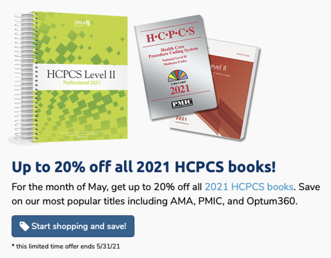 Up to 20% HCPCS 2021 Books — May 2021 Sale